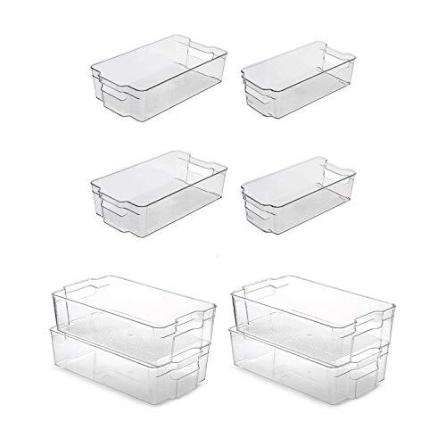 Cuasting 8 cubos de plástico transparente para almacenamiento de alimentos, 4 piezas A y 4 piezas B