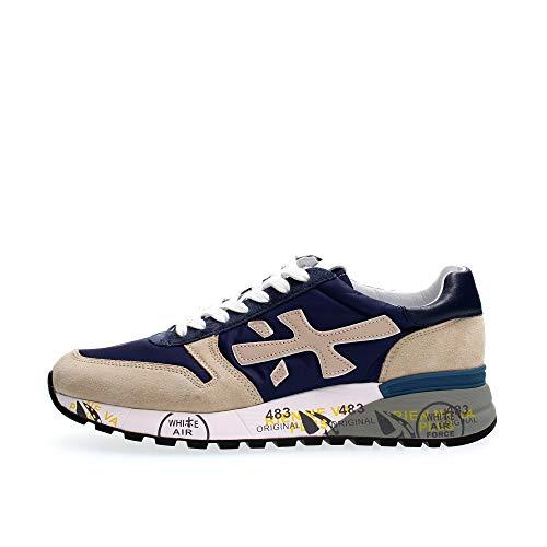 PREMIATA - Uomo Mick 5187 Scarpa Sneakers in Pelle e Tessuto Blu Beige - 32294-43
