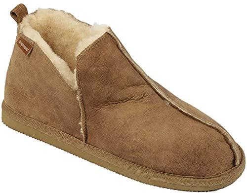 Damen stiefel-stil lammfell pantoffel mit Leder Obermaterial - Kastanie, 5 UK