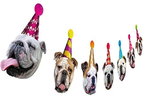 Dog Birthday Garland, Funny English Bulldog Face Portrait Birthday Banner, Bday Party Decoration…