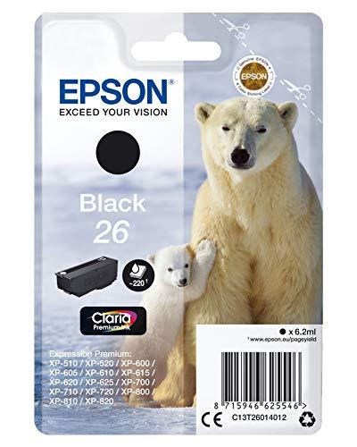 Epson C13T26014012 - Cartucho de tóner adecuado para XP600, color negro válido para los modelos Expression Premium XP-510, XP-520, XP-600, XP-820 y otros, Ya disponible en Amazon Dash Replenishment