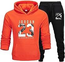 Heren 23 # Jordan Wintersport Trainingspak 2 Stks Gym Basketbal Plus Fluwelen Sportkleding Jas Casual Sport Trui Broek