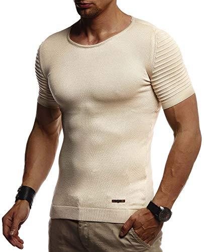 Leif Nelson Herren Sommer T-Shirt Rundhals Ausschnitt Slim Fit aus Feinstrick Cooles Basic Männer T-Shirt Crew Neck Jungen Kurzarmshirt O-Neck Sweater Shirt Kurzarm Lang LN20754 Beige X-Large