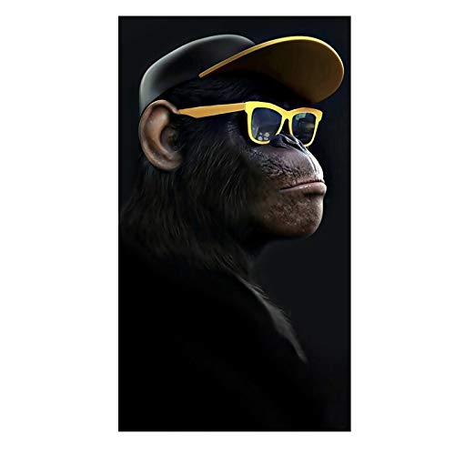 oioiu Abstract funny fashion glasses headphones music monkey big poster wall art picture canvas poster home decoration wall painting