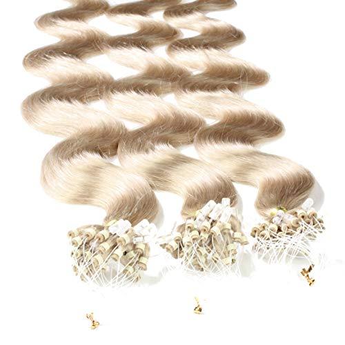 hair2heart 100 x 1g Echthaar Microring Loop Extensions, 60cm - gewellt - #20 aschblond