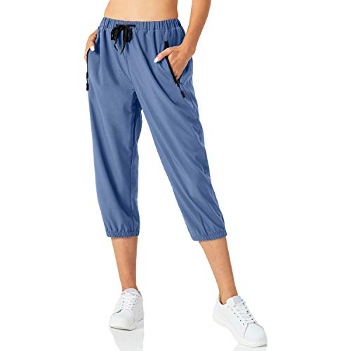 Butrends 3/4 Pantalón de Chándal para Mujer Pantalones de chándal Ligeros para Mujer Pantalones Capri de Secado rápido Pantalones de Senderismo Casuales con Bolsillos con Cremallera