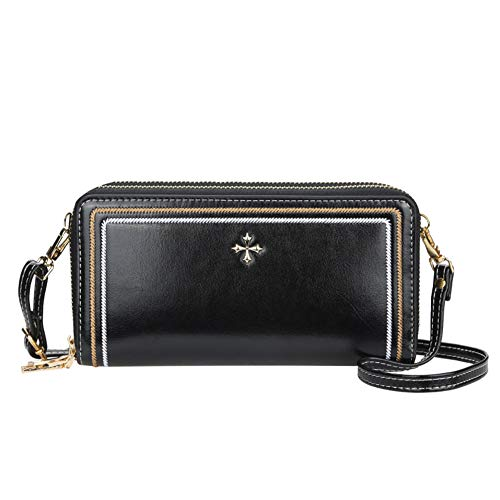 Aeeque Leather Wallet for Women, Small Crossbody Bag Credit Card Holder Wallet Cell Phone Purse Ladies Clutch Handbag Casual Travel Shoulder Bags for iPhone 12 Pro Max 11 XS XR 8 7 6s Plus, Black
