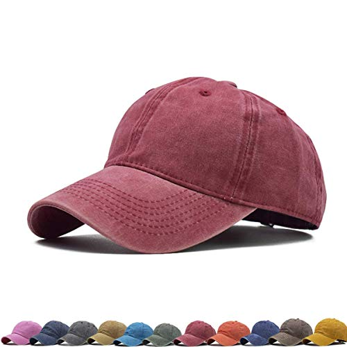 Vintage Unisex Top Hats for Women Baseball caps for Men Dad Hats Baseball Hats for Daily (Red)