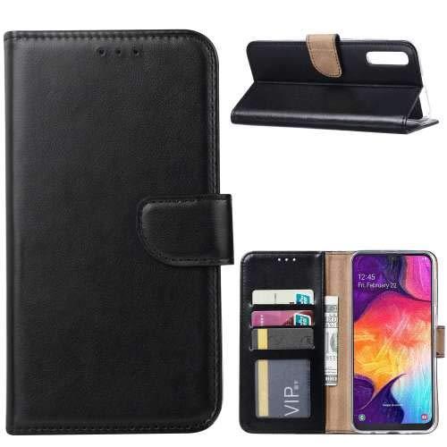 GSM Hoesje voor Samsung Galaxy A50 Book Case met Pasjeshouder Zwart Sluiting met magnetisch lipje