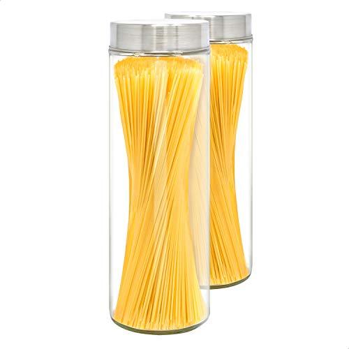 LG Luxury & Grace Set 2 Vorratsdosen Glas mit Deckel, 1,75 L (31x10 cm). Borosilikatglas Glasbehälter. Vorratsgläser mit Edelstahldeckel.