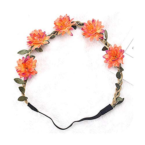 Accessorie Girls Fashion Flower Wreath Garland Vine Chrysanthemum Elastic Rubber Hair Bands Bohemia Crown Headwear Hair Orange Garland-