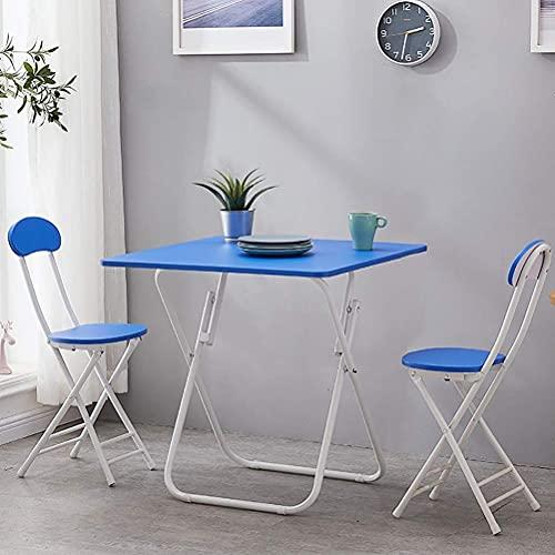 Accesorios diarios mesa de patio y sillas/moderno juego de muebles de jardín de 3 piezas, mesa de comedor plegable cuadrada de metal con 2 sillas plegables