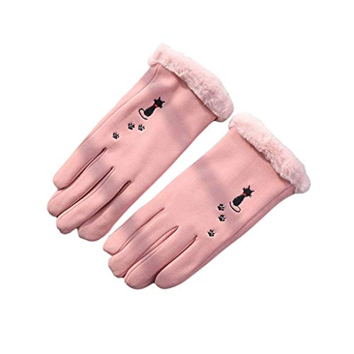 ZXC Home Handschuhe Sport im Freien windundurchlässigen Baumwolle Wolle-Material Plus Samt-Winter-warme REIT Nette Karikatur-Handschuhe, Rosa