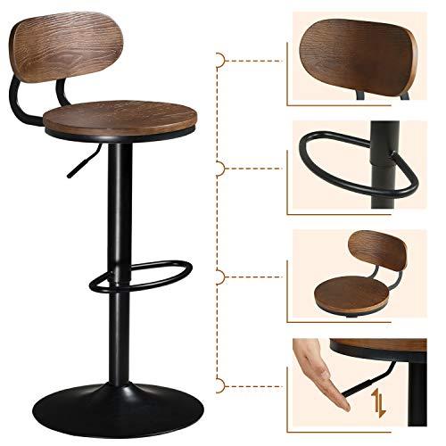 DICTAC Holz Barhocker höhenverstellbar Tresenhocker Barhocker mit Lehne Küchenhocker 360° drehbar Stuhl verchromter Stahl belastbar bis 180kg