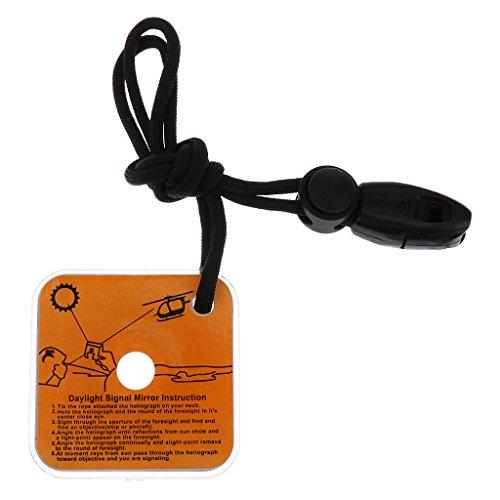 Baoblaze Kit de Survie avec Miroir et Sifflet de Signalisation Reflecteur Miroir Accessoire Protection Camping Randonnée Escalade