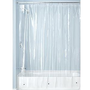 mDesign Cortina de baño de vinilo – Cortinas de baño larga con 12 aros para colgar incluidos – Cortina de ducha y para bañera impermeables – 100% vinilo – transparente: Amazon.es: Hogar
