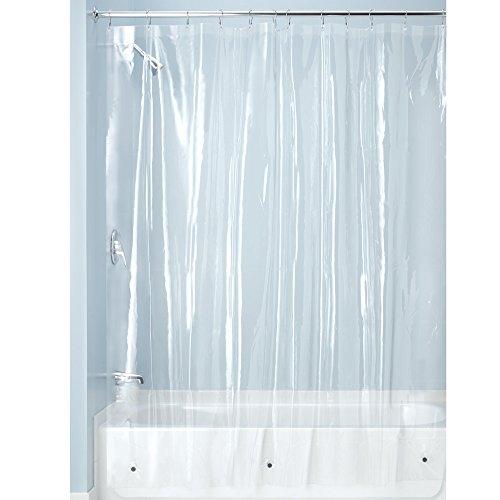 iDesign Duschvorhang aus Stoff, schimmelresistenter Badewannenvorhang aus Polyester in der Größe 180,0 cm x 200,0 cm, wasserdichter Vorhang mit 12 Ösen, durchsichtig