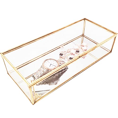 Transparente Vidrio Caja, Bodas Dorado Caja, Geométrico Joyas Caja, Diseño De Marco De Phnom Penh, Para Decorar Tocador, Exhibición De Joyería, Fiesta, Centros De Mesa De Boda