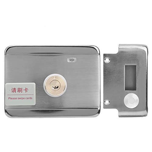 Cerradura de puerta con cerrojo electrónico, sistema de control de acceso eléctrico de acero inoxidable con tarjeta de identificación, cerradura de puerta con control remoto con alarma antiplancha