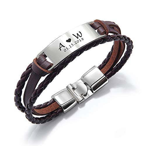 howson london Personalised Mens Bracelet | Leather Engraved Bracelet Gift for Him Boyfriend Husband Dad | ID Identity, Customised Monogram, Birthday, Wedding, Anniversary, Free Engraving