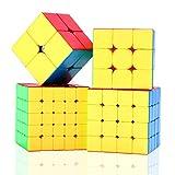 ROXENDA Cubos de Velocidad, Speed Cube Set de Moyu 2x2 3x3 4x4 5x5 Stickerless Cube, con Caja de Regalo y Tutorial Secreto para Cubo Mágico