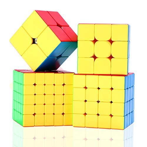 ROXENDA Speed Cube Set, Cubo di Velocità Moyu 2x2 3x3 4x4 5x5 Stickerless Speed Cube con Confezione Regalo, Tutorial Segreto per Cubi di Velocità