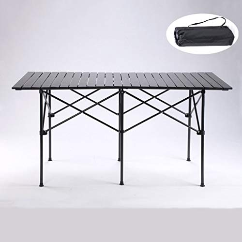 DDHXX Mesa Plegable, Que acampa Plegable de Mesa, de Aluminio Ligero Extra Strength portátil, al Aire Libre de Interior, Fiesta de jardín Alquiler de Picnic Barbacoa, con Agujero for sombrilla