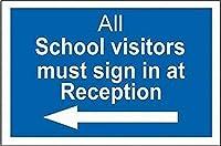 注意サイン-すべての学校訪問者はフロントでサインインする必要があります。通知のためのインチ通りの交通危険屋外の防水性と防錆性の金属錫サイン