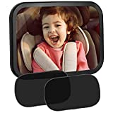 EletecPro Baby Rücksitzspiegel mit Sonnenschutz Auto mit UV Schutz (2 Stück), Autospiegel Baby,...