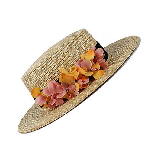 LHZUS Sombreros para mujer, 100% paja de trigo, protección solar, sombrero para mujer, verano, playa, gorras de viaje con flor (color: natural, tamaño: 56-58 cm)