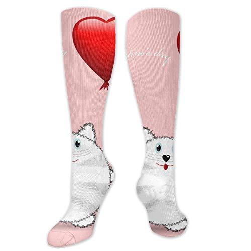 Leuke Cartoon Kat Verjaardagskaart Sokken Knie Hoge Sokken Vrouwen 50cm