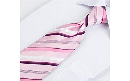 Coffret Chicago - Cravate rose tendre à rayures blanches, rose foncé et deux nuances de bordeaux, boutons de manchette, pince à cravate, pochette de c