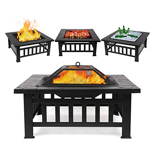 Fire Pit with BBQ Grill Shelf for Garden and Patio, Fire pit Garden Patio Heater/BBQ/Ice Pit (3 in 1 Fire Pit Square Table & Grill)