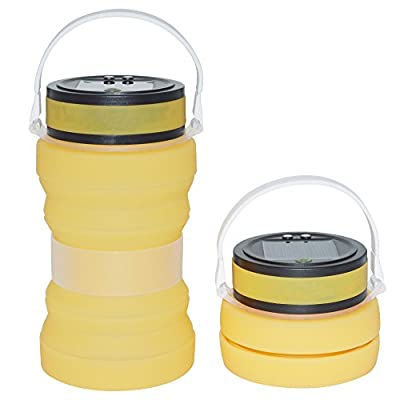 Auchee Collapsible Solar Camping Lantern -SOS Magnetic USB Rechargeable | IPX6 Waterproof Silicone Storage Bottle for Home Table Lamp Patio Tents Camping Boating Sailing Fishing Outdoor