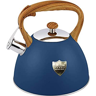 Tea Kettle 3L Stovetop Whistling Teakettle Tea Pot,Food Grade Stainless Steel Teapot Tea Kettles for Stove Top,Cool Wood Pattern Handle,Loud Whistle and Anti-Rust,Suitable for All Heat Source,Blue