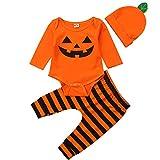 BriskyM Säuglings-Baby-Kleinkind-Jungen-Mädchen-Langer Hülsen-Kürbis-Spielanzug-Hut mit gestreifter Pant Halloween-Kostüm (Orange, 12-18 Months)