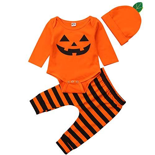 BriskyM Säuglings-Baby-Kleinkind-Jungen-Mädchen-Langer Hülsen-Kürbis-Spielanzug-Hut mit gestreifter Pant Halloween-Kostüm (Orange, 6-12 Months)