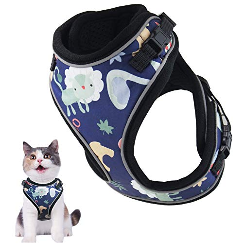 MUDINPET Cat Harness Escape Proof, Kitten Mesh Vest Harness, Adjustable Reflective Comfortable Soft Cat Chest Harness