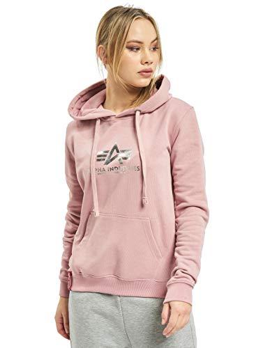 ALPHA INDUSTRIES Wmn Foil Print - Sudadera con capucha para mujer, color plateado y rosa Silver Pink/Metalsilver XL