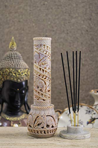 Carry Me Hand Carved Soapstone Incense Holder / Candle Holder / Tea Light Holder in Elephant Jaali Work in Bottle Shape, Made in India - (3 x 3 x 10.5 Inches )