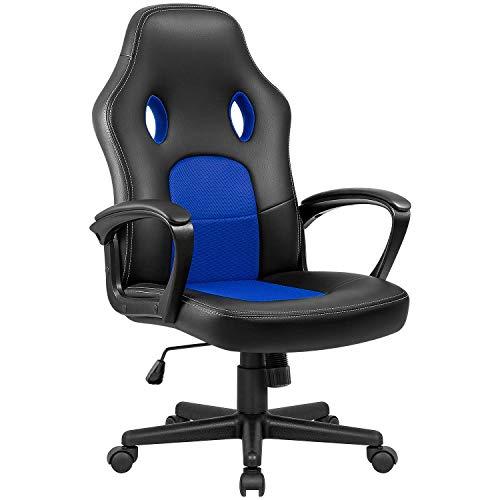 VICTONE Gaming Stuhl Racing Bürostuhl Schreibtischstuhl Pu Leder Computerstuhl Ergonomischer Pc Stuhl Höhenverstellbarer Drehstuhl (Blau)