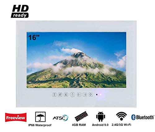 Save %36 Now! Elecsung 19 inch Smart White Bathroom TV IP66 Waterproof TV with Integrated HDTV(ATSC)...