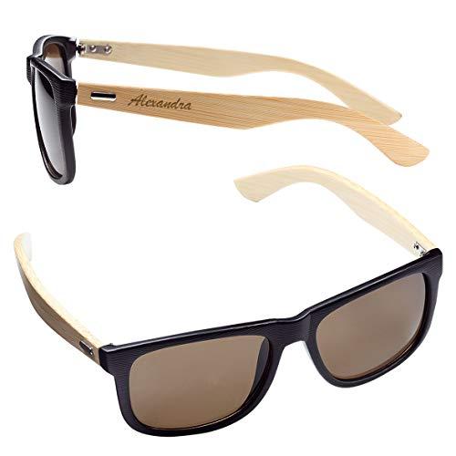 Sonnenbrille mit Gravur | personalisiert mit Ihren Namen | Bambus, UV400 | Herren & Damen