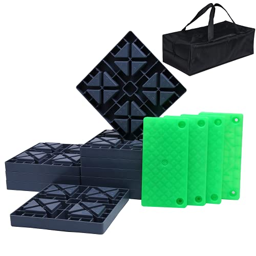 GarfatolRv RV Leveling Blocks with Luminous Ramp, Heavy Duty RV Blocks for Leveling, Ideal for Stabilizing and Leveling Your RV, Iron Grey (Pack of Ten)