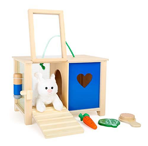 small foot company small foot 5793 Hasenstall, aus Holz, mit Zubehör, ideal für aktives Rollenspiel, besonders für Hasenliebhaber Spielzeug