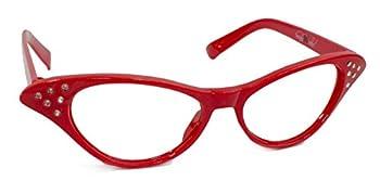 Hip Hop 50s Shop Womens Cat Eye Rhinestone Glasses Red
