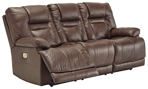 Signature Design by Ashley Wurstrow Power Reclining Sofa with Adjustable Headrest Umber