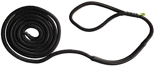 """Shockline Dock Line with Integrated Shock Absorber, Double Braided, Polyester, Hand Spliced 12"""" Eye, ½ Inch x 15 Feet, Black"""