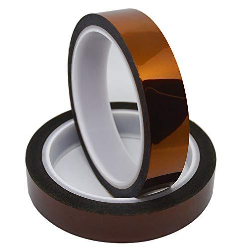 Senven 2 volumi Stampante 3D Nastro ad alta temperatura, polyimide film nastro Nastro Kapton, per mascheratura, saldatura, rivestimento in polvere, circuiti sublimazione e isolanti (33M x 20MM) × 2
