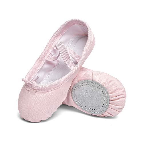 STELLE Zapatillas de ballet de lona para niñas, suela de cuero, zapatos de baile